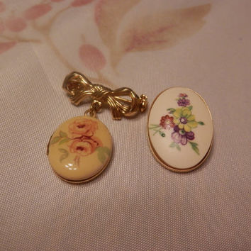 Pair Of Vintage Brooch/Pin/Pendant 1928 Locket Enamel Floral
