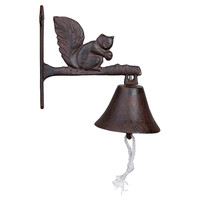 "9"" Cast Iron Squirrel Doorbell, Brown, Door Knockers"