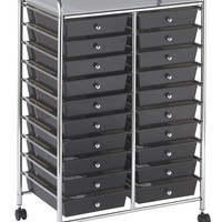ECR4Kids 20 Drawer Art Craft Office Cart Organizer Chrome Mobile Plastic Rolling Storage with Steel Frame Assorted Colors