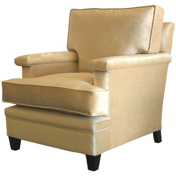 Barclay Butera, Del Mar Velvet Club Chair, Cream, Club Chairs
