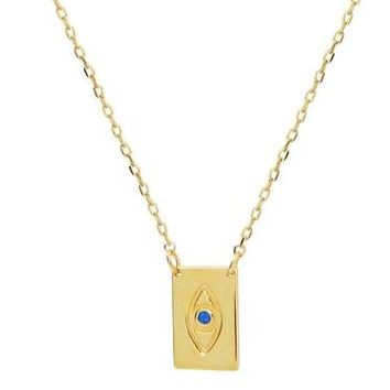 Minimalist Blue CZ Evil Eye Necklace in 18k Gold