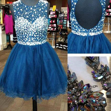 Homecoming Dress,Backless Chiffon Crystals Beading Short Prom Dress