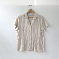 90s silk shirt. short sleeve silk blouse. buff beige natural taupe top.