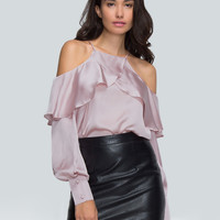Pink Cold Shoulder Wrap Front Ruffle Trim Blouse