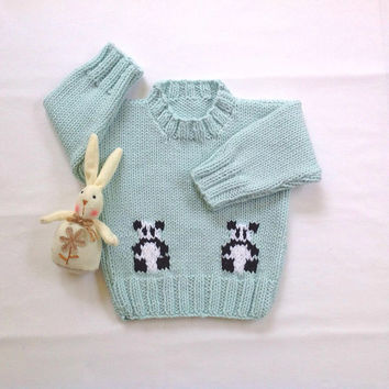 Baby sweater with panda bears - 6 to 12 months - Baby clothing - Baby shower gift - Knit panda sweater