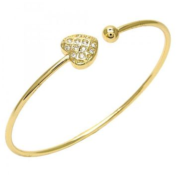 Gold Layered 07.193.0020 Individual Bangle, Heart Design, with White Cubic Zirconia, Polished Finish, Golden Tone (02 MM Thickness, One size fits all)