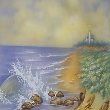 Printed Muslin Scenic Ocean Rocky Shore Lighthouse Backdrop - 113-14