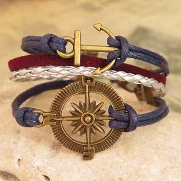 Compass and Anchor cuff bracelet