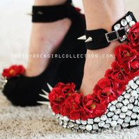 Red Floral Rhinestone Studded Spike Wedge Shoes SIZE 5.5, 6,7, 7.5, 8, 9