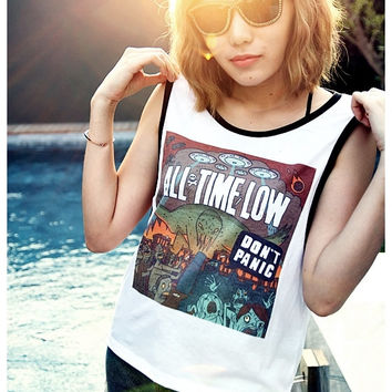 All Time Low Shirt Girl Sexy Summer Sideboob Women Tank Tops Size S, M, L