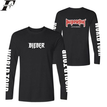LUCKYFRIDAYF Fashion Justin Bieber Autumn Cool T-shirts Kanye West Cotton TShirt Plus Size and PurposeTour Long Sleeve T Shirts