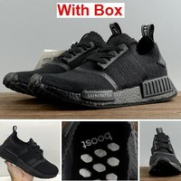 NMD R1 PK All Black Running Shoes Men and Women Size With Box