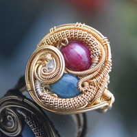 Heady wire wrapped gold ring /heady wrap