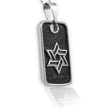 Stainless Steel Jewish Star Dog Tag Pendant