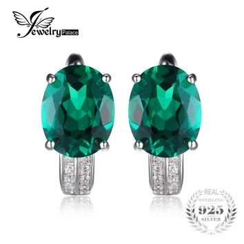 JewelryPalace 3.5ct Created Emerald Earrings Genuine Real Pure Solid 925 Sterling Silver Vintage Charm Jewelry Gift