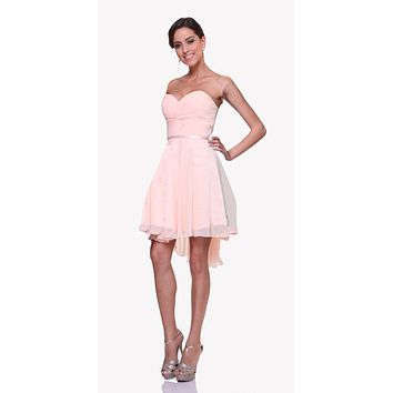 Short Twisted Bodice Chiffon Light Peach Bridesmaid Dress Strapless