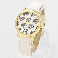 Elephant Leather Watch Gold White