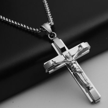 PROT77Gothic Colar Masculino Chunky Large Steampunk Jesus Cross Necklace Men Neckless Titanium 316L Steel Male Crucifix Neclace TN046