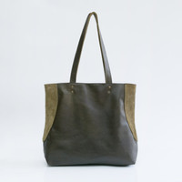 Green Leather Tote Bag - Soft Leather Bag - Tote Bag - Leather Tote - Shoulder Bag - Laptop Bag - Shopper Bag - MIRI BAG / Khaki Green