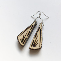 Wood Burned Triangle Earrings, wood burned jewelry, geometric jewelry, wood jewelry earrings, geometric earrings, 925 sterling silver