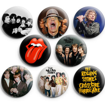 The Rolling Stones Pinback Buttons Badge 1.25 inches (Set of 8 ) Tongue Logo NEW