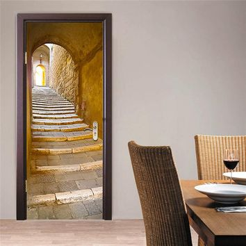 3D Wall Sticker Decal Art Decor Vinyl European Stone Staircase Door Poster Removable Mural Poster Scene Window Door Wallpaper
