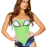 Green Sheer Alien Eyes Galaxy Strapless Bodysuit