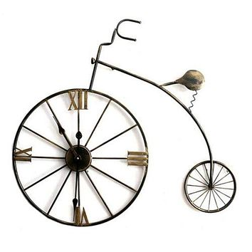Vintage Bar Bicycle Wall Clock Hanging Decoration