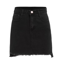 Black Raw Hem Denim Bodycon Skirt With Pockets