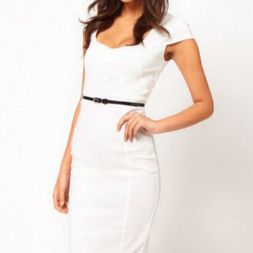White Short Sleeve Back Zipper Bodycon Midi Pencil Dress with Belt