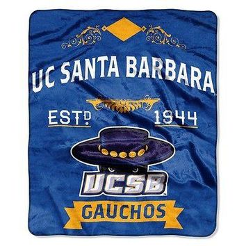 Cal Santa Barbara Gauchos NCAA 50x60 Label Design Royal Plush Raschel Throw