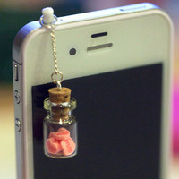 Kawaii LOVE BOTTLE with Pink Hearts Iphone Earphone Plug/Dust Plug - Cellphone Headphone Handmade Decorations