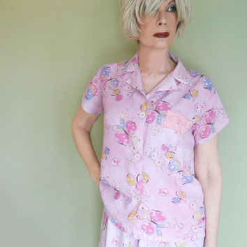 40s Vintage Rayon Pajamas by Tiny Tommies - 1940s Rayon Floral PJs