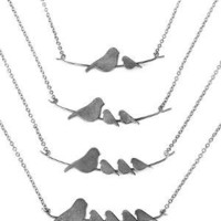 NESTLING BIRDS NECKLACES | Nesting Baby and Mama Bird Sterling Silver Necklace Handmade By Rhonda Wyman | UncommonGoods