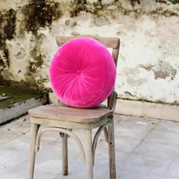 Hotpink silk velvet round pillow 16 by originalboutique on Etsy