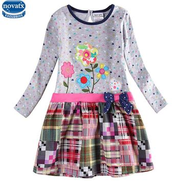 Nova girls dresses autumn hot selling children's girls frocks baby girls clothing fashion flower girls dresses casual kids wear