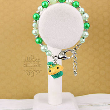 St. Patrick's Day cupcake Bracelet, st patty's day jewelry, st patricks day accessories, clover cupcake charm, lucky charm