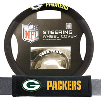 Green Bay Packers NFL Steering Wheel Cover and Seatbelt Pad Auto Deluxe Kit (2 Pc Set)
