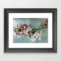 Cherry blossoms - shiny green Framed Art Print by NaomYb'
