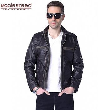 Factory Genuine Leather Jacket Men Calf Cowhide Skin Brand Vintage Retro Brown Bomber Motorcycle Biker Men's Winter Coat ZH166