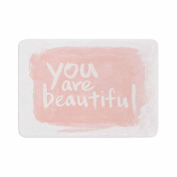 "Qing Ji ""Brush Lettering Beautiful"" Peach White Memory Foam Bath Mat"
