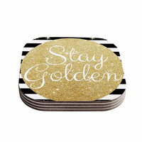"Richard Casillas ""Stay Golden "" Black Gold Coasters (Set of 4)"