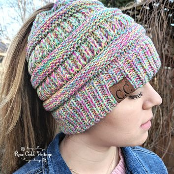 CC Mixed Knit Messy Bun Beanies