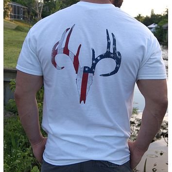 Distressed American Flag Deer Skull White Short Sleeve Tee