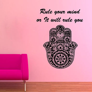Fatima Hand Wall Decals Quote Rule Your Mind Indian Hamsa Hands Lotus Mandala Om Sign Design Home Vinyl Decal Sticker Bedroom Decor KG244
