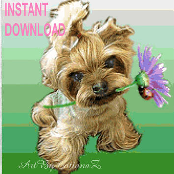Instant Download Counted Cross Stitch Pattern Charly Dog Embroidery Design Digital Animal Cute Puppy