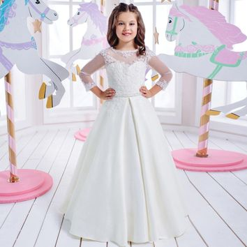 Pageant Dresses for Girls Glitz Sheer O-Neck Lace Up Long Sleeves Appliques First Communion Dresses for Girls Vestido De Daminha