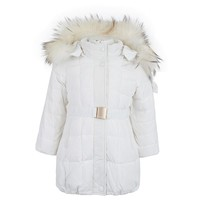 White Puffa Coat with Real Fur Trim
