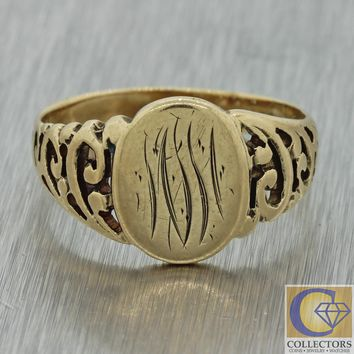 1880s Antique Victorian 9ct Yellow Gold Filigree Monogrammed Signet Ring