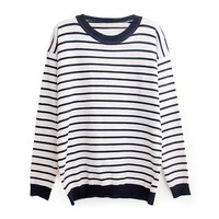 ZLYC Red and White Striped Heart Elbow Patch Sweater